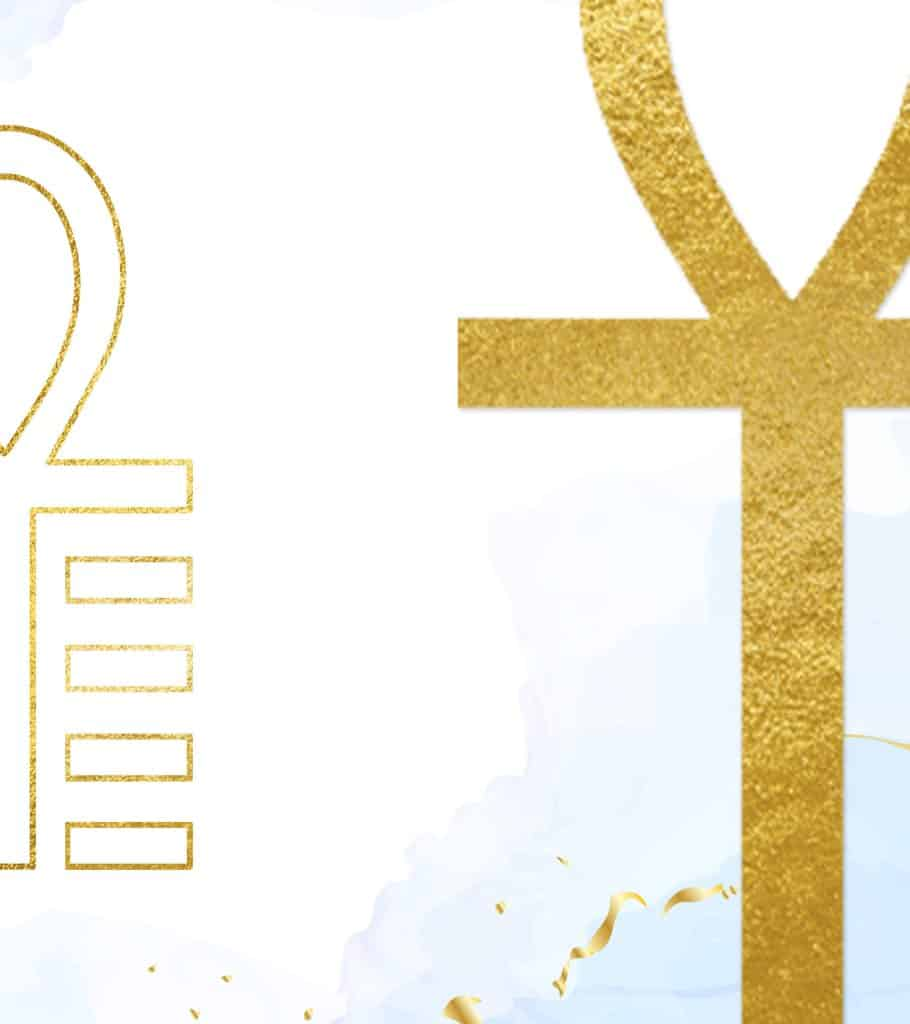 isis ankh symbol in gold foil