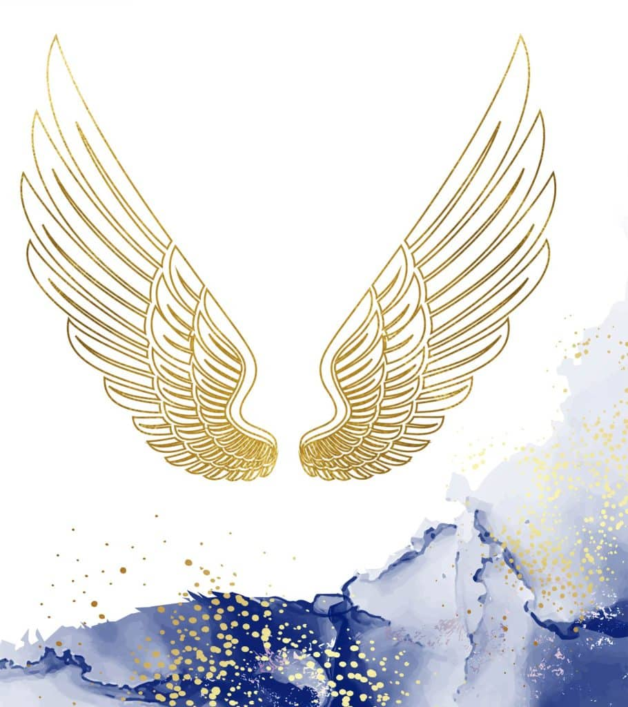 mary magdalene angel wings in gold foil