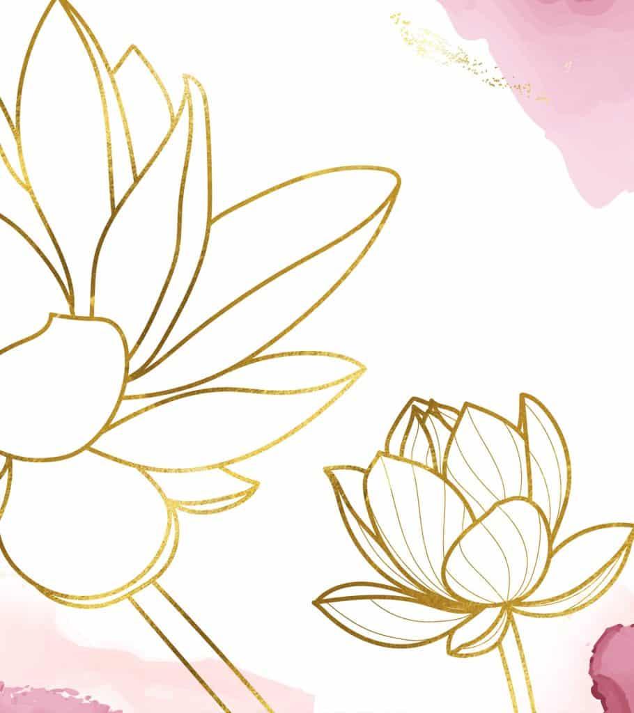 quan yin lotus symbol in gold foil